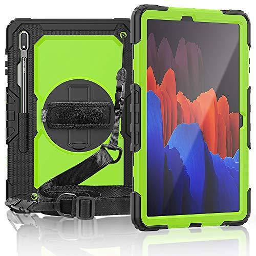 GUOQING Funda para tablet PC Samsung Galaxy Tab S7 Plus /12.4 pulgadas a prueba de golpes, soporte giratorio de 360 grados, correa de mano y correa de hombro PC+funda protectora de silicona