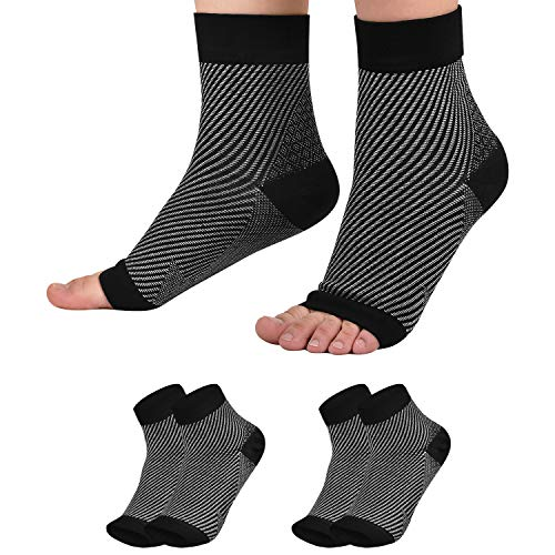 2 Pairs Plantar Fasciitis Socks Ankle Toeless Compression Socks for Pain Relief