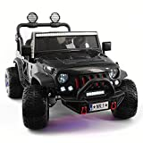12 Volt Explorer Truck Battery Powered Led Wheels 2 Seater Children Ride On Toy Car for Kids Leather Seat MP3 Music Player with FM Radio Bluetooth R/C Parental Remote