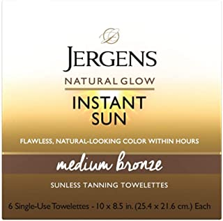 Natural Glow Instant Sun Full-Body Towelettes, Medium Bronze, Light, Fresh Scent, 6Count