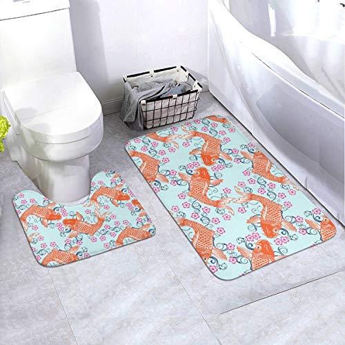 N/F Carp Fish Fondo Floral Baño Antideslizante Alfombra de Baño Alfombrilla Antideslizante para Decoración Interior Set de 2 Angepasst