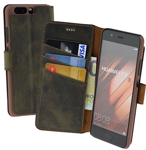 Suncase Book-Style (Slim-Fit) für Huawei P10 Ledertasche Leder Tasche Handytasche Schutzhülle Hülle Hülle (mit Standfunktion & Kartenfach) antik braun