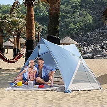 EVER ADVANCED Tente de Plage Pop Up UPF 50+ pour 2-3 Personnes Abris de Plage Protection Solaire pour Camping Pêche Jardin avec Sacs de Sable Corde Coupe-Vent Bleu