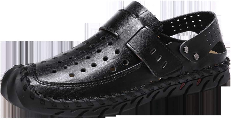 GJLIANGXIE Men'S Sandals New Men'S Hole shoes Summer Men'S Sandals Leather Casual Non-Slip Beach shoes Hollow Breathable Cool shoes
