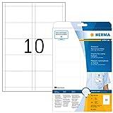 HERMA Etichette per Nomi, 90 x 54 mm, Etichette Adesive A4 per Stampante, 10 Etichette per Foglio, Bianco
