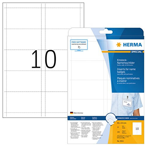 HERMA 9011 Namensschilder für Kleidung DIN A4 (90 x 54 mm, 25 Blatt, Karton) perforiert, bedruckbar, nicht klebende Einsteckkarten, 250 Einsteckschilder, weiß