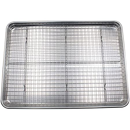 Checkered Chef Baking Sheet with Wire Rack Set - Single Set w/ Half Sheet Pan & Stainless Steel Oven Rack for Cooking