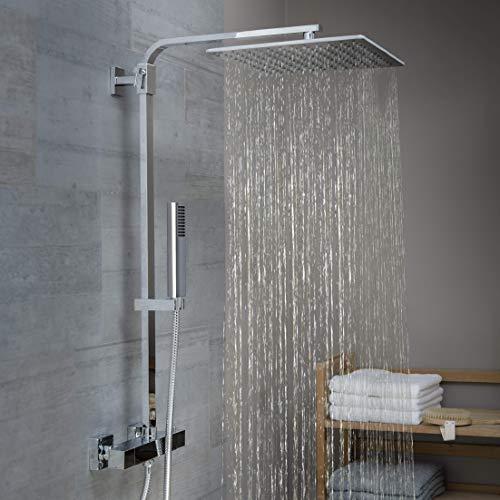 SCHÜTTE 60049 SUMBA Duschsystem Regendusche mit Thermostat und Wandhalterung, 30x30cm Edelstahl Duschkopf, Duschset inkl. Duscharmatur, Duschstange Brause, Chrom