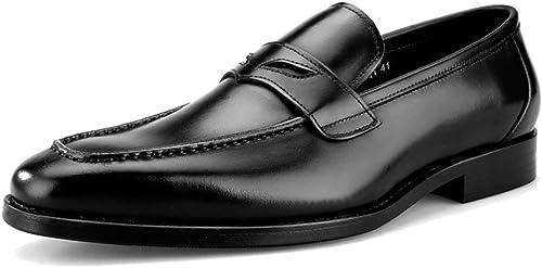 Willsego Zapaños de Barco de Vestir Formales de Cuero Genuino de Punta Cuadrada para hombres Mocasines para Caminar Zapaños de Monje de conducción Plaños (Color   negro, Tamaño   38)