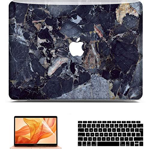 BELK Funda para MacBook Air 13 Pulgadas 2020 2019 2018 Modelo: A2179 A1932, HD Rígida Protecta de la Carcasa + Teclado Cubierta (EU Layout) + Protector de Pantalla,Mármol Azul