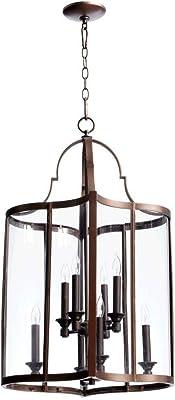 Eight Light Oiled Bronze Clear Glass Foyer Hall Pendant