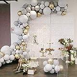 Kit de arco de guirnalda de globos gris, 100 piezas de decoración de fiesta, suministros de juego de globos, blanco mate, gris y cromado, globos metálicos para bodas, cumpleaños, bodas, baby shower