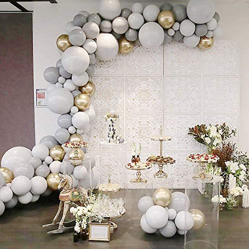 100Pcs White and Grey Balloon Garland Arch Kit, Party Decorations Balloon Set Supplies, Matte White & Gray & Chrome Metallic Gold Balloons for Wedding Birthday Bridal Engagement Baby Shower