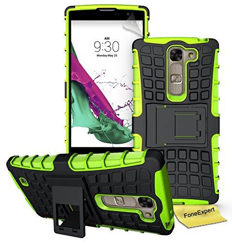 FoneExpert® LG Magna / LG G4C Handy Tasche, Hülle Abdeckung Cover schutzhülle Tough Strong Rugged Shock Proof Heavy Duty Hülle für LG Magna / LG G4C + Bildschirmschutzfolie (Grün)