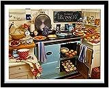 Kits de punto de cruz contados -Cocina 40x50cm- Kit de bordado a mano con patrón de punto de cruz Diy Kit de bordado impreso Set decoración del hogar