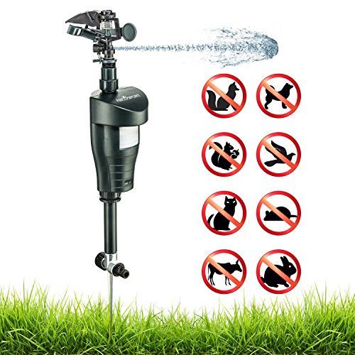 Activated Motion Sensor Water Sprinkler Animal Repellent – Ultra Humane & Safe Way of Scaring Away Wild Animals – Cats, Dogs, Birds, Squirrels, Etc. – Effective Motion Detector Sprinkler – Metal Stake