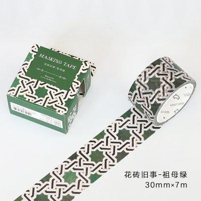 WRITIME Nastro adesivo Washi 30Mm X 7M/12 Stili/Tonalità Marmi Naturali Nastri Nastri Ciabatte da sposa Decorazione e nastri di carta, Piastrelle Oldtimer - Smeraldo