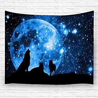 LK'S SHOP Moon Wolf Wall Tapestry Hippie Art Tapestry Wall Hanging Home Decor for Bedroom Living Room Dorm Room 60x80 inches