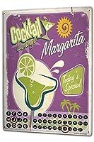 カレンダー Perpetual Calendar Alcohol Retro Cocktail Margarita Tin Metal Magnetic Kitchen