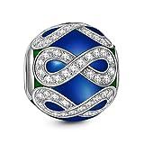NINAQUEEN Charm Pandora adapté Cadeaux pour Femmes Cadeaux de Saint Valentin pour Elle Bleu Infini Amour Argent 925 Zircone Cadeaux personnalisés pour la Saint-Valentin