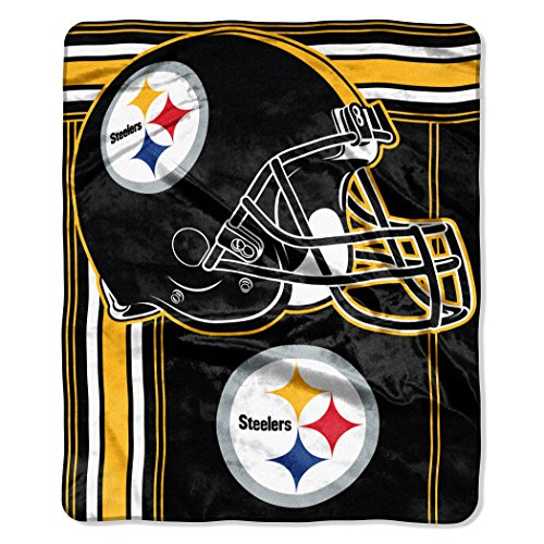 Officially Licensed NFL Pittsburgh Steelers 'Touchback' Plush Raschel Throw Blanket, 50' x 60', Multi Color