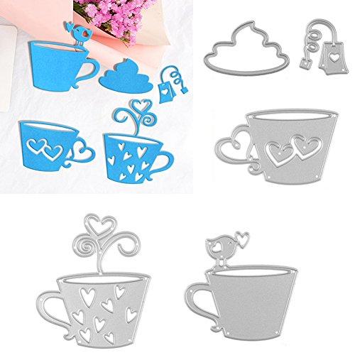 Kuizhiren1 Stanzformen, 5 Stück/Set für Teebeutel, Kaffeetasse, Metall-Stanzform, Schablone für DIY Scrapbook.