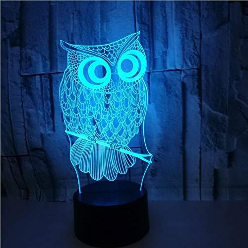Kaper Go 3D LED lámpara base luz nocturna, búho decorativo 7 colores cambiantes táctil sensible interruptor escritorio luz ilusión óptica regalo creativo