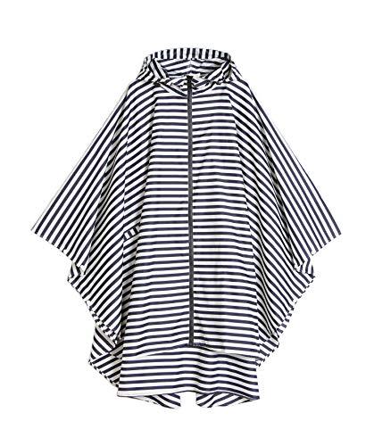 Womens Rain Poncho Waterproof Raincoat with Hood Zipper Outdoor Hiking Biking (White Stripes)