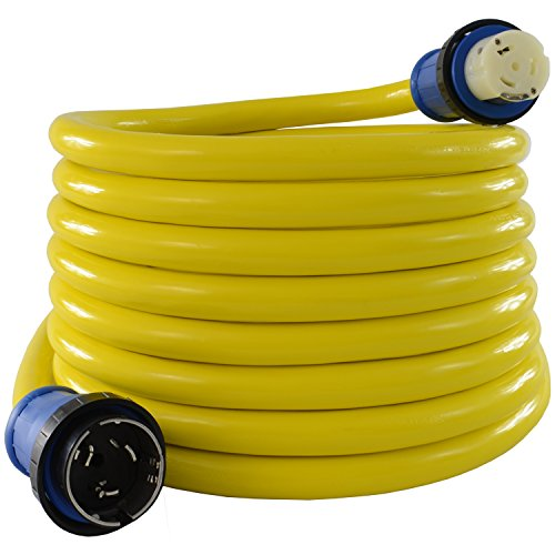 Conntek 50 Amp 125/250-Volt Marine Shore Power Extension 4 Wires Cord with Threaded Ring (Yellow 50-Feet)