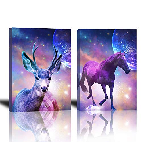 Brilliant Starry Sky Wall Art for Boys Room Wall Decor 12x16inch Set of 2 Framed Deer and Horse in Colorful Out Space Painting for Bedroom Bathroom Living Room Science Fiction Wall Decoration Pictures