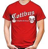 Cottbus kämpfen & Siegen Männer und Herren T-Shirt   Fussball Ultras Geschenk   M1 (XL, Rot)