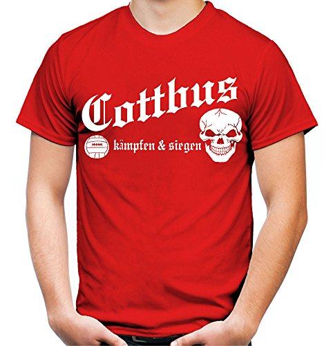 Cottbus kämpfen & Siegen Männer und Herren T-Shirt | Fussball Ultras Geschenk | M1 (XL, Rot)