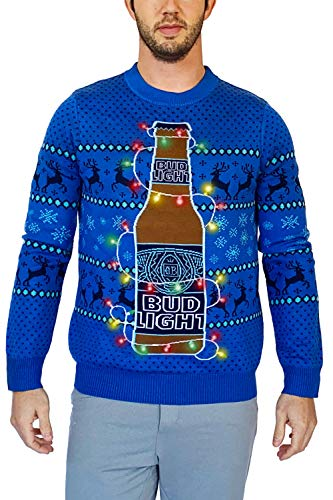 Tipsy Elves x Bud Light Funny Ugly Holiday Sweaters for Men - Bud Light Beer Light Up Pullover Size Large