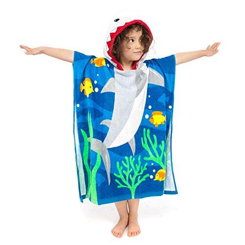 Florica Algodón Niños Niñas Encantador Ponchos Encapuchados baño Toalla de baño(Talla Grande Tiburón)