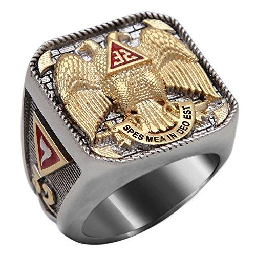 Masonic Scottish Rite 32 Degree Ring 18K Gold Pld White Version 40 Grams Templar Handmade BR-6 (11.5)