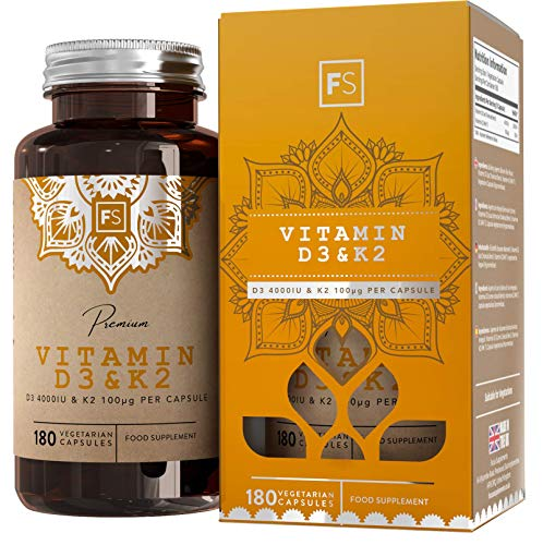 FS High Strength Vitamin D3 4000iu & Vitamin K2 100μg Tablets | 180 High Strength Capsules | The Sunshine Vitamin with Added K2 | Gluten & Dairy Free | Made in The UK in ISO Licensed Facilities