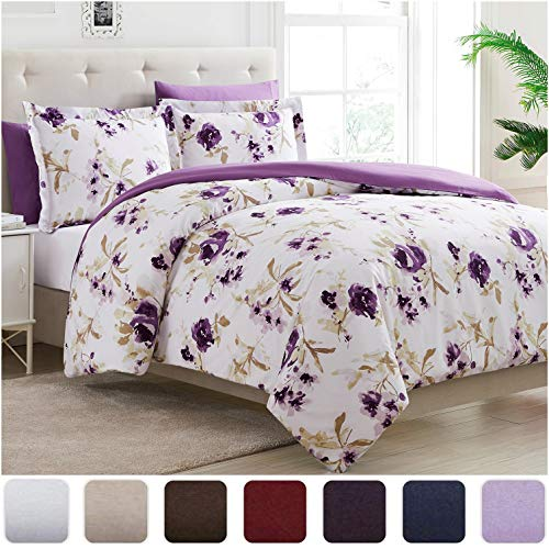 Mellanni Duvet Cover King Set 5pcs - Soft Double Brushed Microfiber Bedding with 2 Shams and 2 Pillowcases - Button Closure and Corner Ties - Fade, Stain Resistant (King/Cal King, Madison Purple)