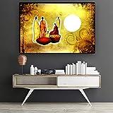 SADHAF Golden paisaje pintura al óleo abstracta floral africana arte personajes en lienzo póster e impresiones salón mural A6 70X100cm