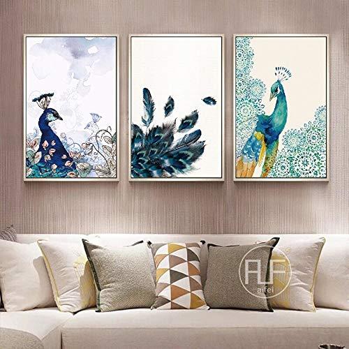 hetingyue Frameloze pauw olieverfschilderij print kleuterschool wild dier muurkunst poster canvas afbeelding kamerdecoratie origineel abstract schilderij