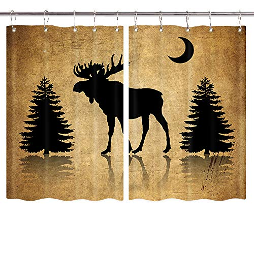 NYMB Vintage Animal Kitchen Curtains, Rustic Elk Moose Deer Forest Pine Tree Moon Design, Countryside Farmhouse Kitchen Decorations Window Curtain Drapes, Window Treatment Sets 2 Panels, 55X39Inches