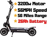 OUTSTORM Folding Electric Scooter for Adults, 56MPH Top Speed, 67 Mile Max Distance, Portable and Foldable with Heavy Duty Off-Road Tires with Seat (Black/ 3200w Motor/ 26Ah Battery/ 56 Miles Range.)