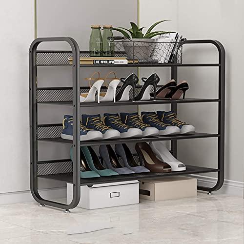 XYCSM Modern Metal Staipe Hack, M de Hierro de 4 Niveles Organizador de Alenamiento de Zapatos, Estante de Zapatos de Cuadrícula de Alambre para Dormitorio, Armario, Entrada, Dormit