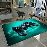 3d Alfombras de Habitacion Gamer Videojuegos Juvenil Chico Infantiles Niño Colores Gaming Grande Pequeñas Alfombras Salon Baño Modernas Pelo Corto Lavables Vinilicas Verde Negro (100x150 cm)
