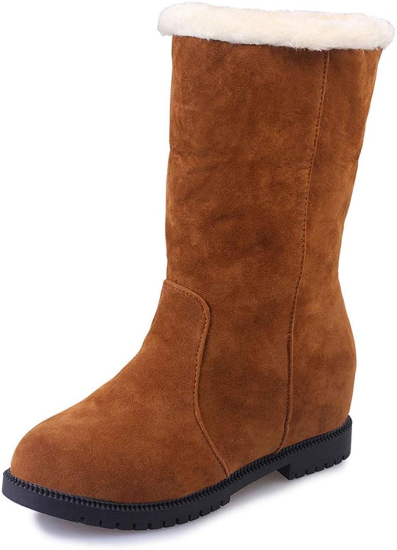Zarbrina Womens Flat Platform Ankle Boots Fashion Round Toe Rubber Sole Short Plush Keep Warm shoes Ladies Zipper Up Winter Snow shoes
