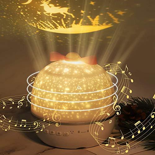 Baby Nachtlicht Projektor, Kinder Sternenhimmel Musiklicht mit 6 Projektionsfilmen, 360 Grad drehbarer Sternenprojektor Lampe Licht Sternenprojektor für Geburtstag Kinderzimmer Kinderzimmer Dekor