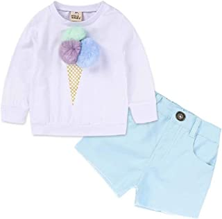 Hooyi Camisa de Helado para Niñas con Bola de Pompón Pantalones Cortos de Mezclilla Blusa Manga Larga