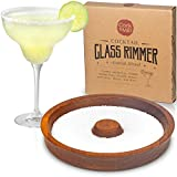 Cork & Mill Margarita Salt Rimmer, Acacia Wood Glass Rimmer, Sugar and Salt Rimmer for Wide Glasses...