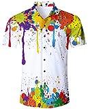 ALISISTER Camisa Hawaiana Hombre Estampado en 3D Pintada Botón Informal Abajo Playa Camisa Manga Corta Aloha de Vacaciones Camiseta Blanco L