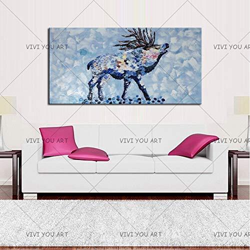 CHASOE Abstrakte Tier Ziege Dickes Öl Ölgemälde Für Wanddekoration Abstrakte Ziege Ölgemälde Für Freund 60X80 cm