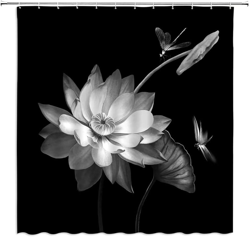 Lotus Shower Curtain Black and Flower 1 year trend rank warranty Dragonfly Eleg Magic White